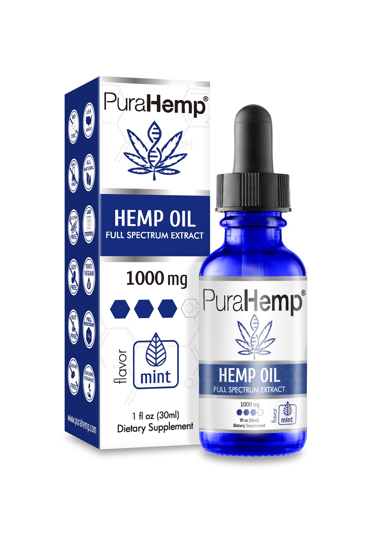 PuraHemp CBD Oil Drops Mint Flavor 1000 mg Hemp CBD Oil