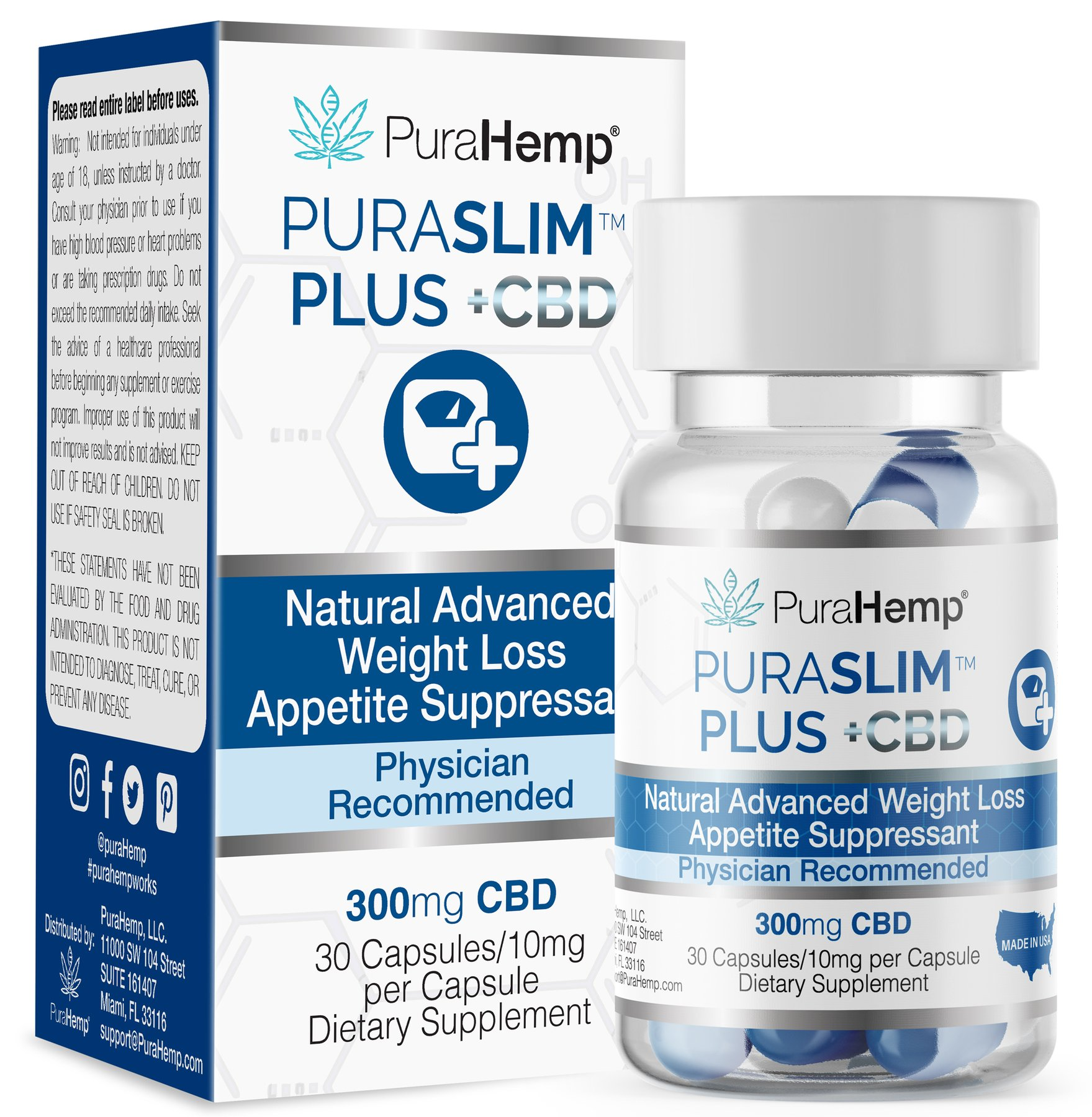 PuraHemp PuraSlim + CBD Capsules Weight loss Support Appetite Suppressant
